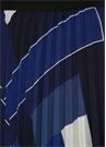 Mavi Geometrik Desenli Pileli Midi Şifon Etek