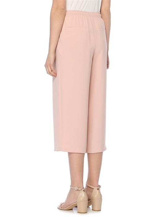 Pembe Yüksek Bel Bağcıklı Krep Culotte Pantolon