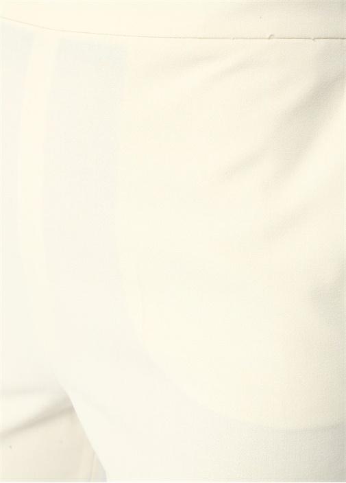 Ekru Yüksek Bel Kemer Detaylı Crop Pantolon