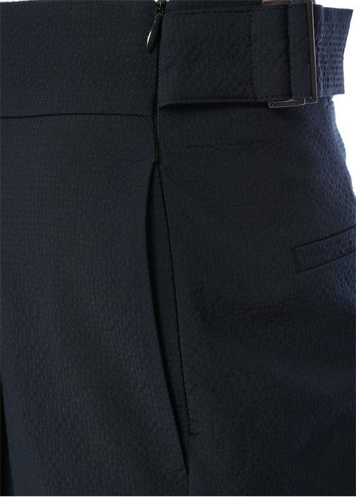 Lacivert Yüksek Bel Dokulu Cigarette Yün Pantolon