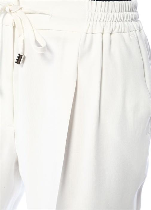 Beyaz Beli Bağcıklı Dökümlü Pijama Pantolon