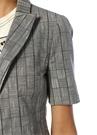 Gri Kırlangıç Yaka Kemerli Kısa Kol Blazer Ceket