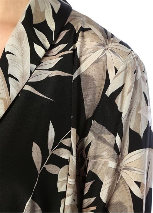Siyah Şal Yaka Tropikal Desenli Kuşaklıİpek Ceket