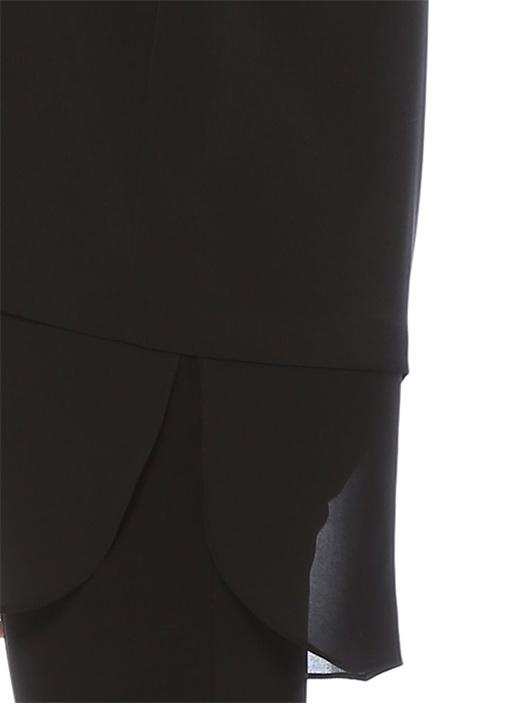 Siyah Yakası Bağlı Şifon Garnili KolsuzKrep Bluz