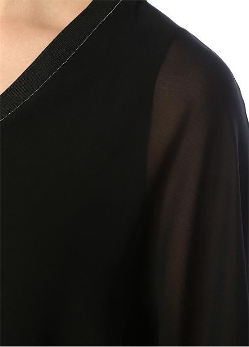 Siyah V Yaka Zincirli Yarasa Kol Şifon Bluz