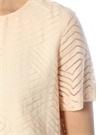 Pudra Geometrik Desenli Ucu Volanlı Keten Bluz