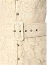 Krem Taş Düğmeli Beli Kemerli Midi Dantel Elbise