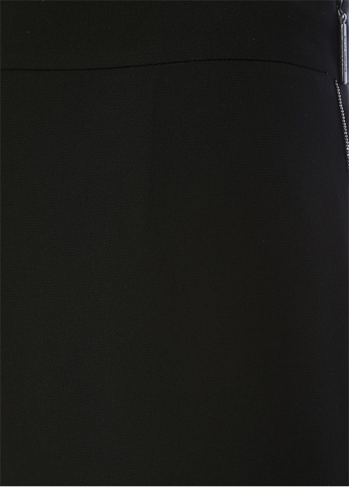 Siyah Zincir Şerit Detaylı Bol Paça Pantolon