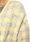 Sarı Gri Kare Desenli Kuşak Detaylı Hırka