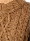 Bobi Kahverengi Düşük Kol Saç Örgü Yün Kazak