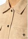 Bej Denim Formlu Arkası Fermuarlı Süet Ceket