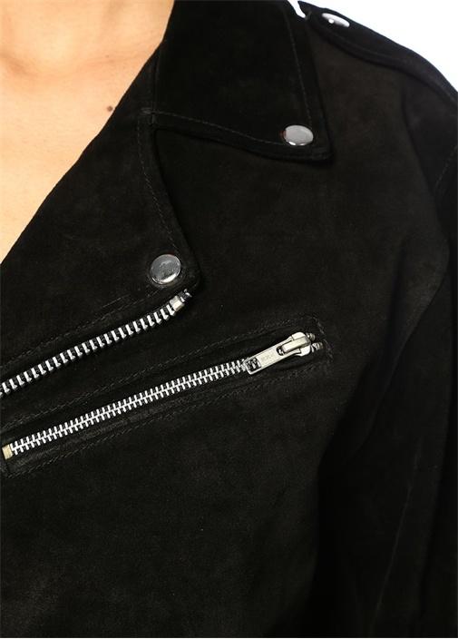 Siyah Sırtı Patch Detaylı Asimetrik Deri Ceket