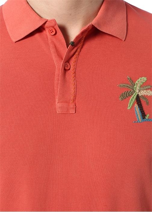 Slim Fit Pembe Polo Yaka Palmiye Nakışlı T-shirt