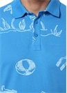 Slim Fit Mavi Polo Yaka Tebeşir Çizim Baskılı T-sh