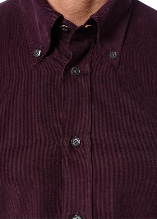 Mor Yakası Düğmeli Çizgi Dokulu Gömlek