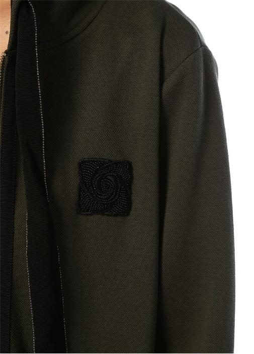 Haki Kapüşonlu Patch Detaylı Fermuarlı Sweatshirt