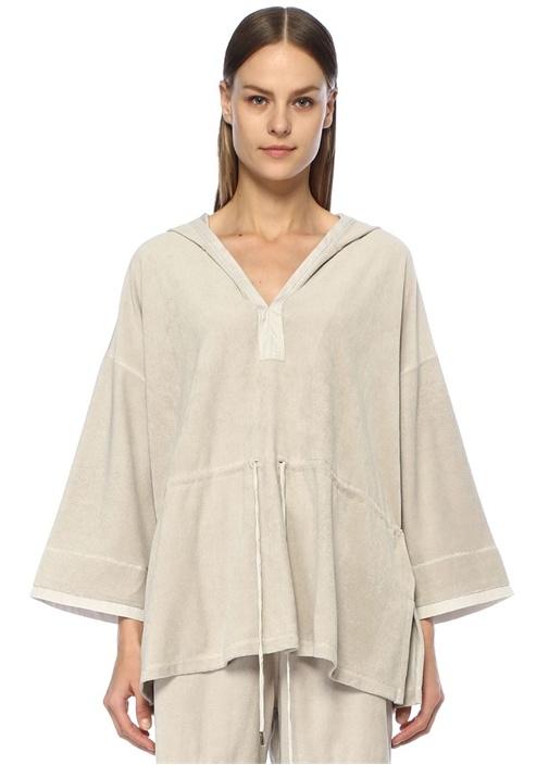 Gri Kapüşonlu Havlu Dokulu Büzgülü Sweatshirt