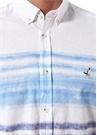 Comfort Fit Beyaz Degrade Çizgili Gömlek