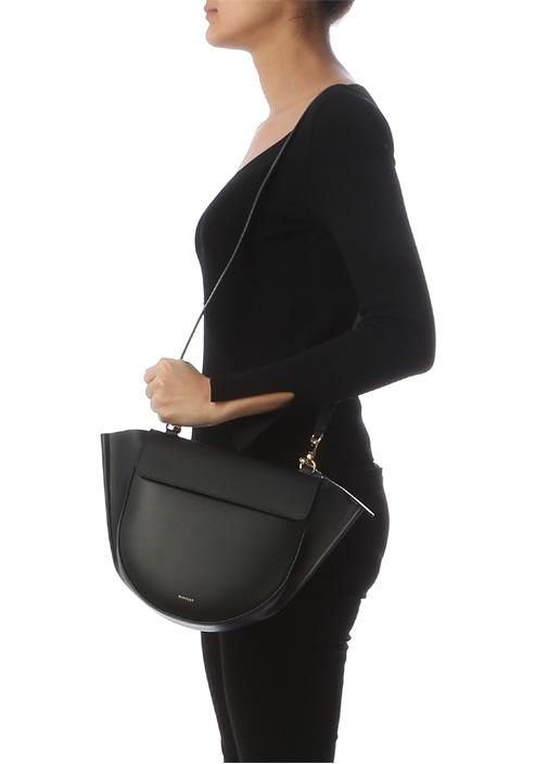 Hortensia Medium Siyah Kadın Deri Omuz Çantası