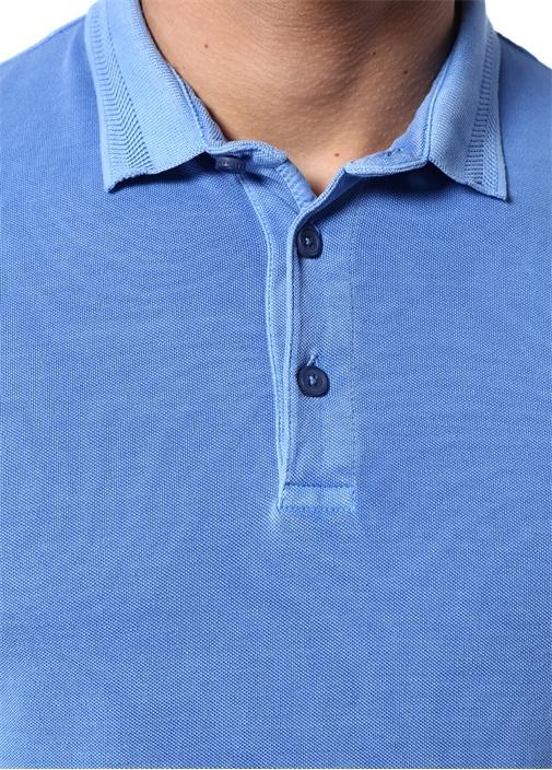 Mavi Polo Yaka Doku Detaylı T-shirt