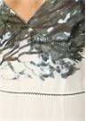 Ponza Beyaz V Yaka Baskılı Kolsuz Midi İpek Elbise