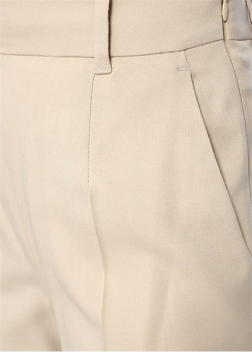 Gavi Krem Yüksek Bel Bol Paça Yün Pantolon