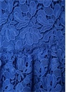 Mavi Volanlı Uzun Kol Midi Güpür DantelElbise
