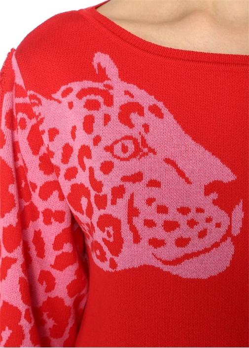 Panthera Kırmızı Pembe Jakarlı PüsküllüKazak
