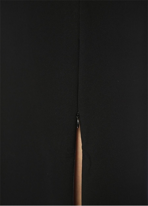 Frans Siyah Midi Kolsuz Streç Elbise