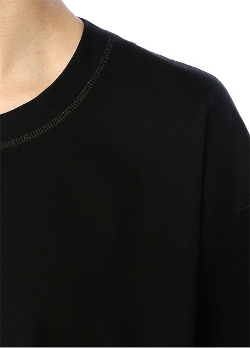 Siyah Bisiklet Yaka Bol T-shirt