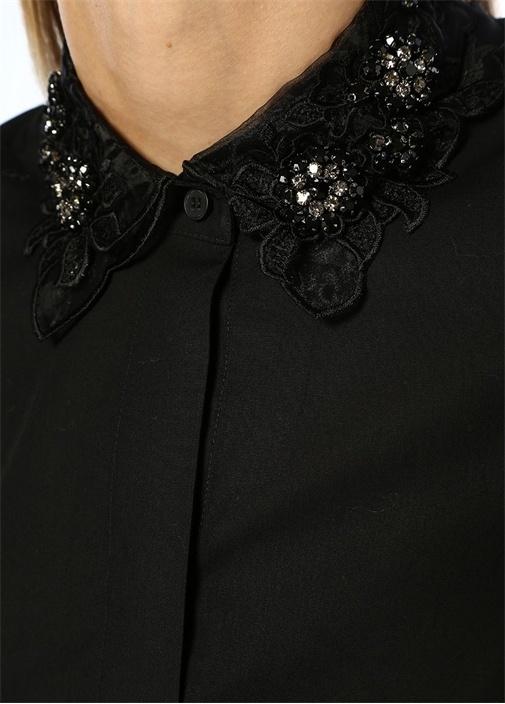 Siyah Taş İşlemeli Organze Yaka DetaylıGömlek