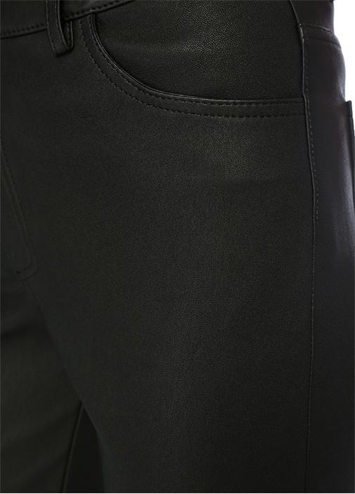 Siyah Yüksek Bel Streç Deri Pantolon