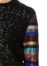 Magpie Siyah İşlemeli Kolu Renkli Çizgili Kazak