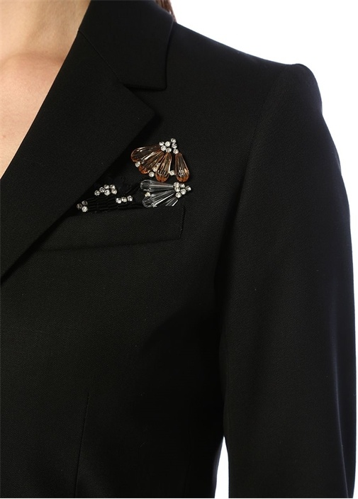 Siyah Kelebek Yaka Kemerli Cebi İşlemeli Yün Ceket
