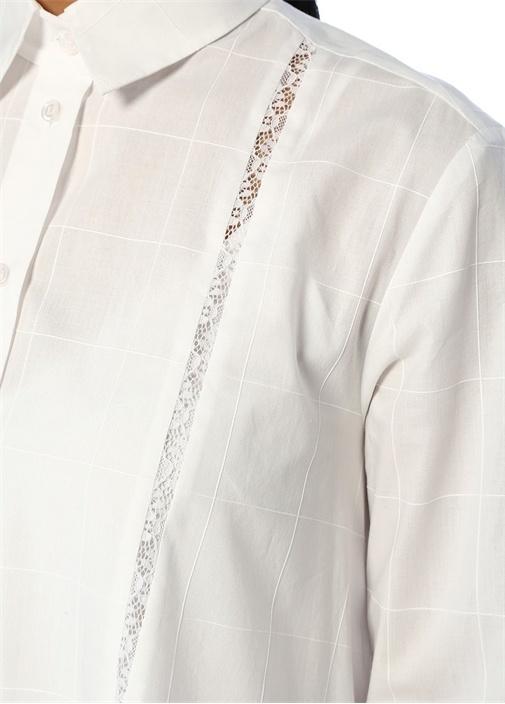 Beyaz Dantel Garnili Asimetrik Midi Gömlek Elbise