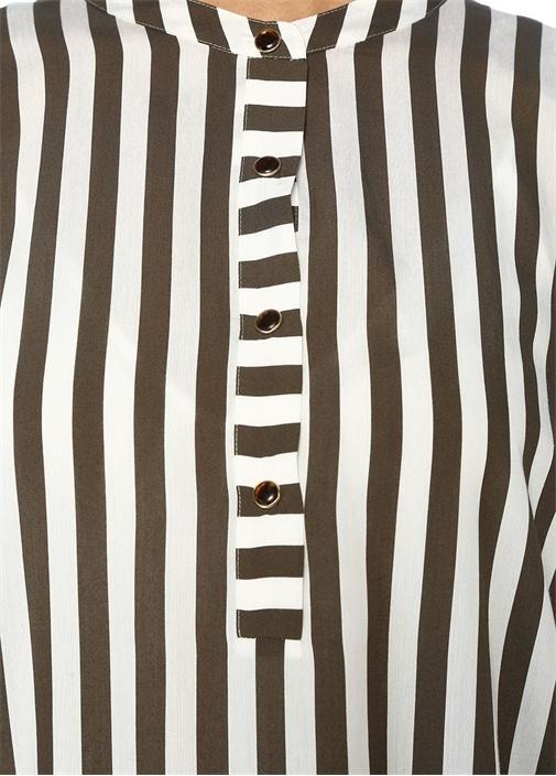 Haki Beyaz Çizgili Kısa Kol Midi GömlekElbise