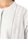 Mavi Beyaz Çizgili Midi Keten Gömlek Elbise