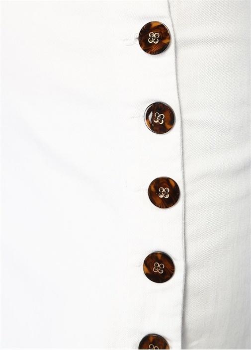 Beyaz Yüksek Bel Düğme Detaylı Midi Denim Etek