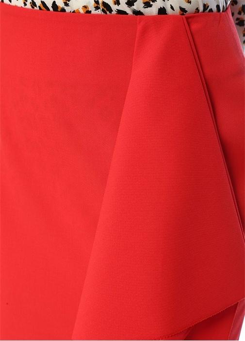 Kırmızı Volanlı Midi Yün Kalem Etek