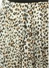 Beyaz Leopar Desenli Pileli Midi Şifon Etek