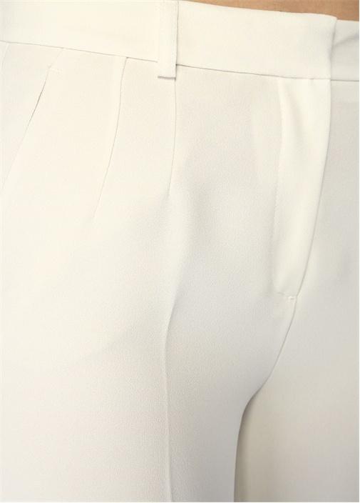Ekru Normal Bel Cigarette Krep Pantolon