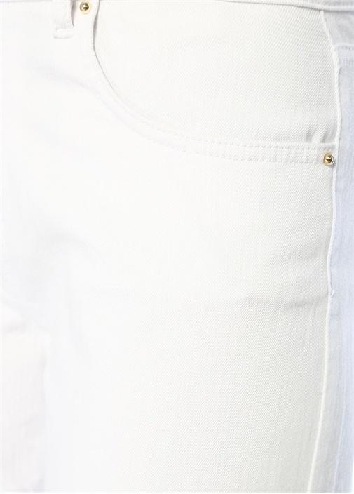 Beyaz Yüksek Bel Bol Paça Crop Jean Pantolon