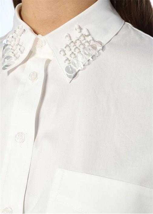 Beyaz Yakası İşleme Detaylı Bol Poplin Gömlek