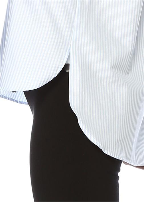 Mavi Beyaz Çizgili Arkası Uzun Gömlek