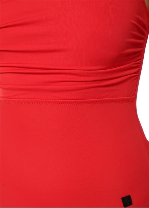 Kırmızı Tek Omuzlu Drapeli Mayo