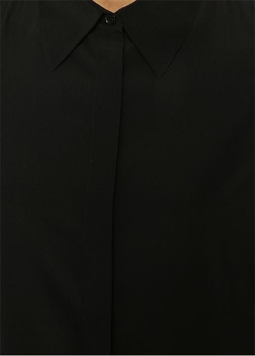 Siyah Midi İpek Gömlek Elbise