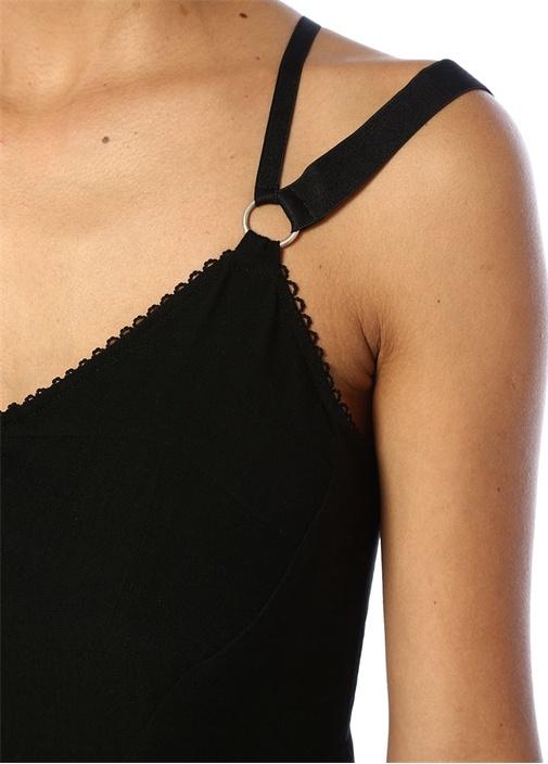 Siyah V Yaka Sırtı Çapraz Askılı Midi Elbise