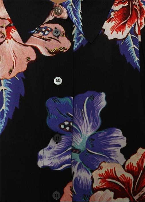 İngiliz Yaka Tropikal Baskılı Mini Gömlek Elbise