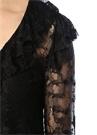 Siyah V Yaka Volanlı Transparan Dantel Bluz