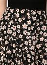 Siyah Triko Garnili Çiçekli Asimetrik Midi Elbise